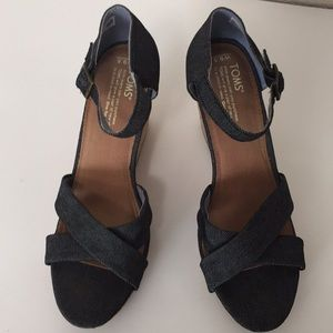 Toms Cork Wedge Sandals Size 9.5